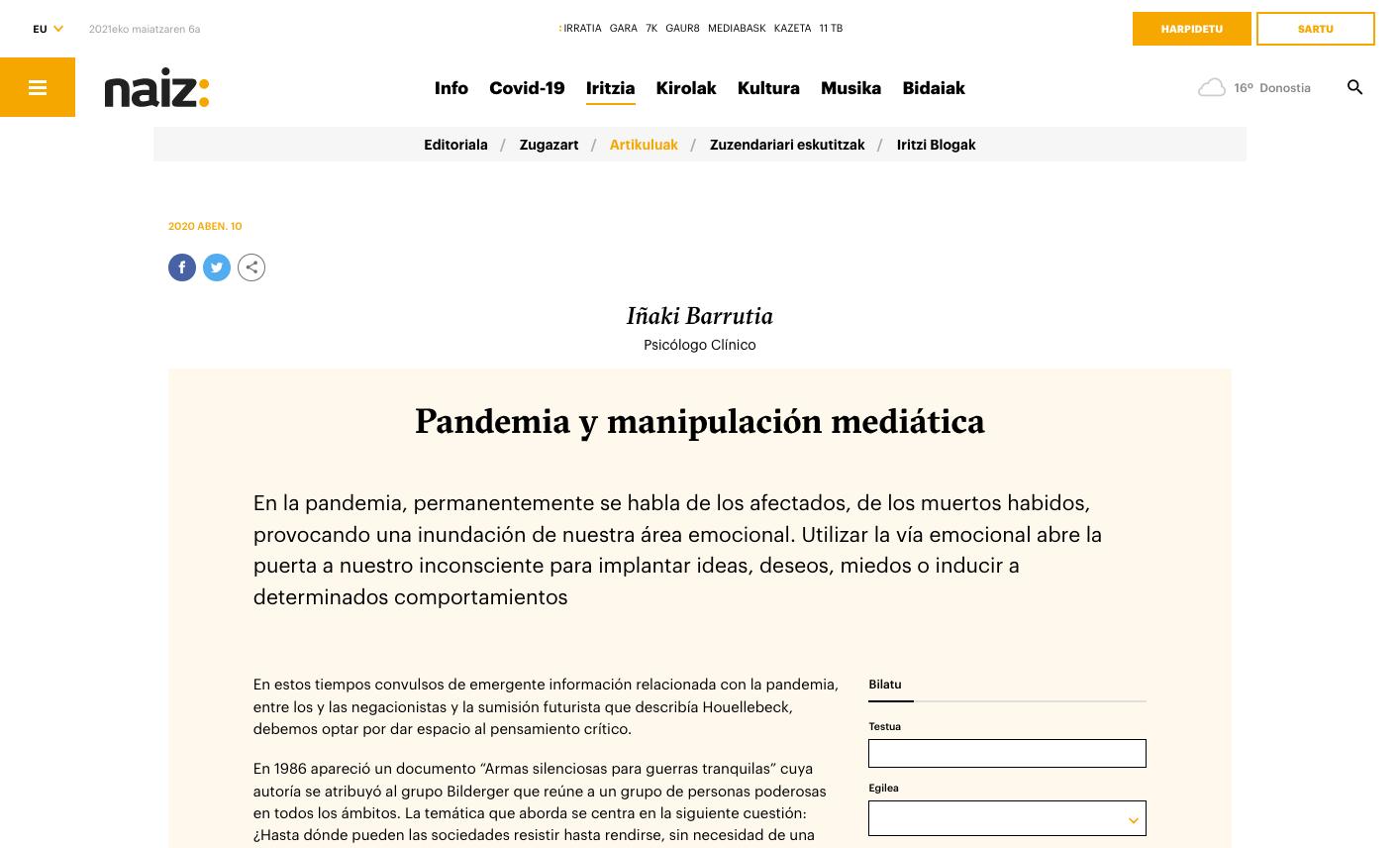 Iñaki Barrutia, psicólogo clínico, acerca de la manipulación de los medios de comunicación